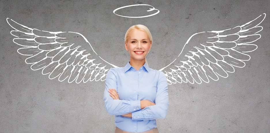 A woman with hand-drawn wings represents an angel investor