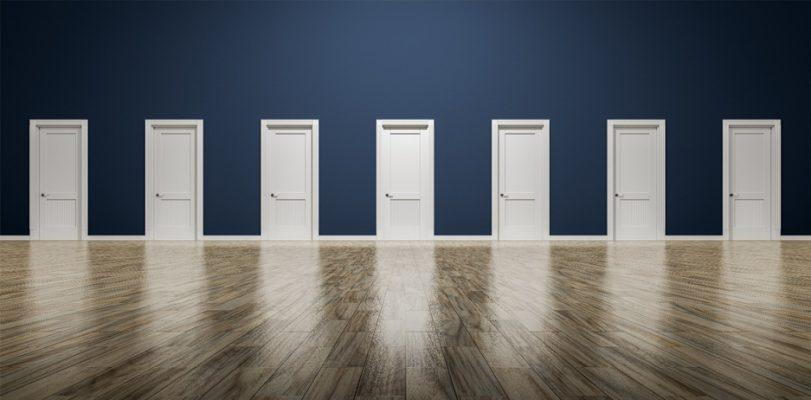 A wall with many doors represents the options business owners have as they choose a business structure